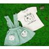Βρεφικό σετ 2τμχ. σαλοπέτα και κοντομάνικο γατάκι 50521056 πράσινο
