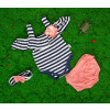 Βρεφικό σετ 3τμχ. κορμάκι, κορδέλα και βρακάκι 5055384 σκούρο μπλε/ροδακινί