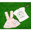 Βρεφικό σετ 2τμχ. σαλοπέτα και κοντομάνικο γατάκι 50521056 ροζ ανοιχτό