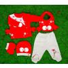 Βρεφικό σετ 5τμχ.παντελονι με κλειστό πόδι, μπλούζα, σκουφάκι, γάντια και σαλιάρα 50515523 καβουράκι