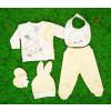 Βρεφικό σετ 5τμχ. παντελόνι με κλειστό πόδι, μπλούζα, σκουφάκι, γάντια και σαλιάρα 50515086 κίτρινο