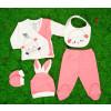 Βρεφικό σετ 5τμχ. παντελόνι με κλειστό πόδι, μπλούζα, σκουφάκι, γάντια και σαλιάρα 50515086 σκούρο ροζ