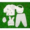 Βρεφικό σετ 5τμχ. παντελόνι με κλειστό πόδι, μπλούζα, σκουφάκι, γάντια και σαλιάρα 50515086 γκρι