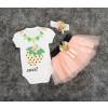 Βρεφικό σετ 3τμχ. κορδέλα, κορμάκι και φούστα φράουλα 5054025 ροδακινί