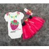 Βρεφικό σετ 3τμχ. κορδέλα, κορμάκι και φούστα φράουλα 5054025 φούξια