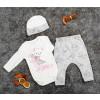 Βρεφικό σετ 3τμχ. σκουφάκι, κορμάκι και παντελονάκι 50514861 άσπρο