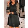 Γυναικείο φόρεμα με μανίκια από παγιέτες 3940 μαύρο/χρυσό