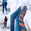 Γυναικείο εντυπωσιακό τζιν 4679 μπλε