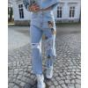 Γυναικείο τζιν με πεταλούδες 4733 μπλε